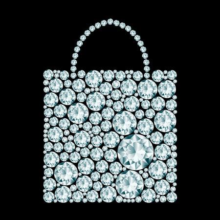 Shopping bag made of diamonds.  Illusztráció