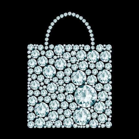 Shopping bag made of diamonds.  Illustration