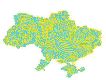 eastern europe: Map of Ukraine territory painted with national painting style Petrikivka Illustration