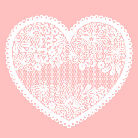 Lacy heart on pink background with empty lace net space