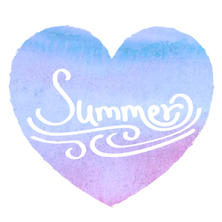 Watercolor heart with insription Summer on white background