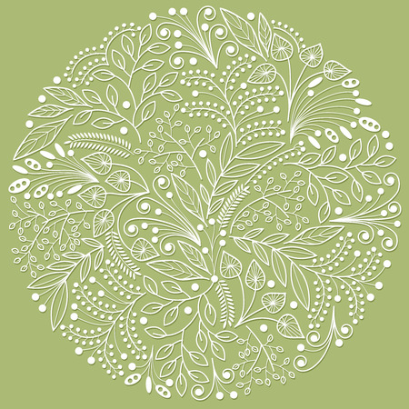 floriculture: White decorative floral composition on green background Illustration