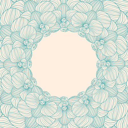 floriculture: Orchid round frame background Illustration