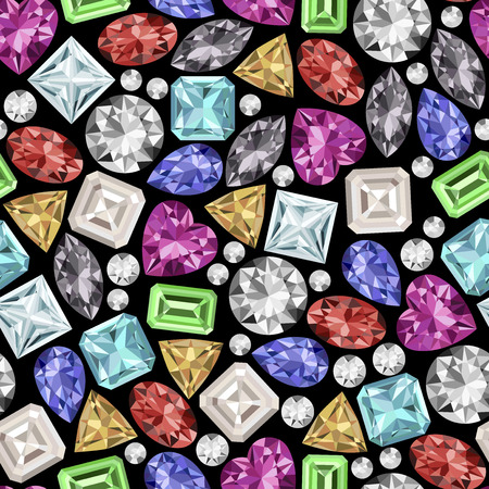 Black background with gemstones seamless pattern. Vector