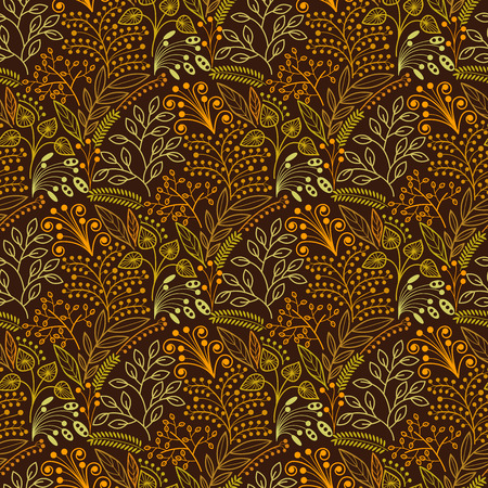 floriculture: Brown floral scales seamless pattern