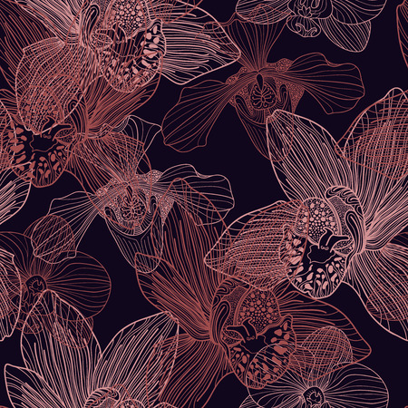 Orchid engraving seamless pattern on blue background  Vector