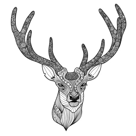 zentangle: Patterned deer head with big antlers