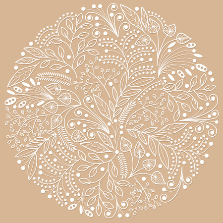 botanics: White decorative floral composition on brown background