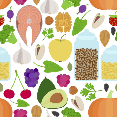 greenary: Seamless healthy food pattern on white background