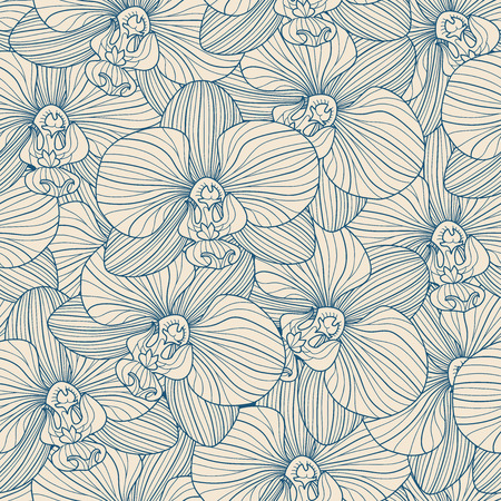 Blue lines orchid seamless pattern