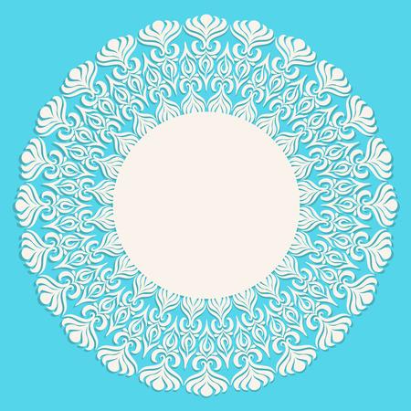 ornament frame: Round beige ornament frame on blue background.