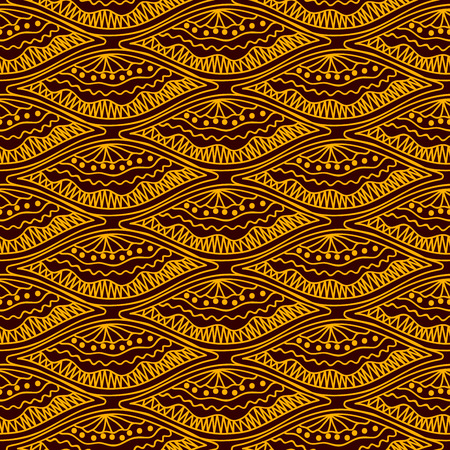 Yellow scales repeating pattern on brown background