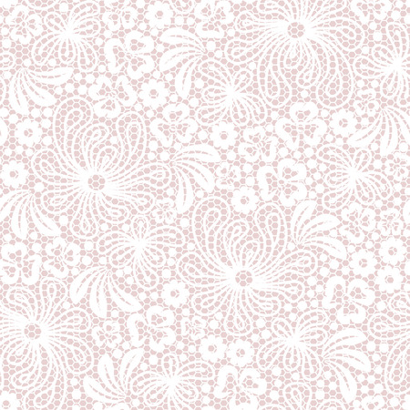 Seamless white lace on pink background Illustration