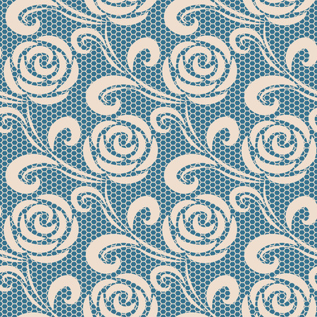 Seamless retro roses lace pattern on blue background