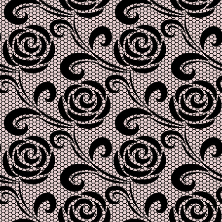 Seamless black retro roses lace pattern on pink background