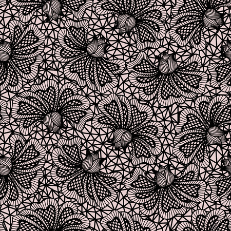 Black seamless flower lace pattern on pink background