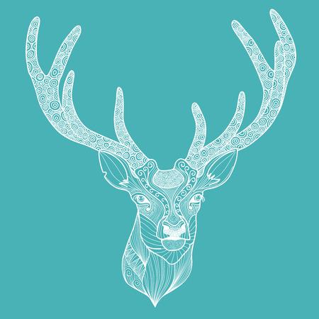 antler: Patterned deer head with big antlers