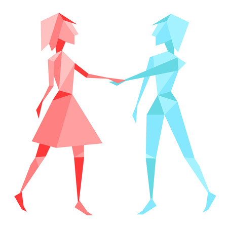 couple holding hands: Abstract polygon couple holding hands Illustration