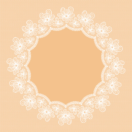 lacy: Round white lacy frame on beige background.