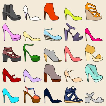 peep toe: Set of 25 fashionable shoes