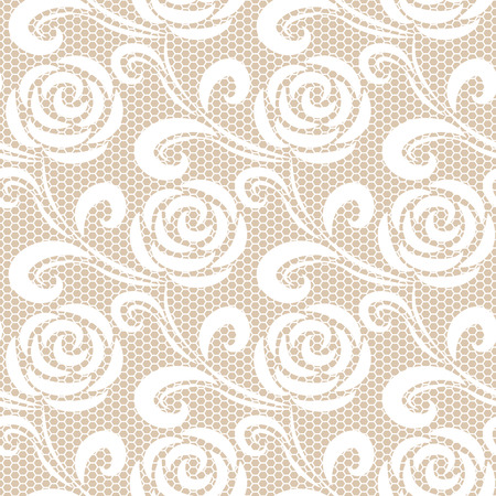 beige: Seamless white retro roses lace pattern on beige background