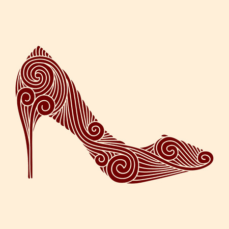 Brown ornamental shoe on light beige background Illustration