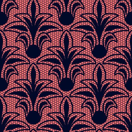 Seamless dark blue floral lace pattern on pink background Illustration