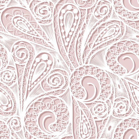tileable: Seamless white lace pattern on pink background
