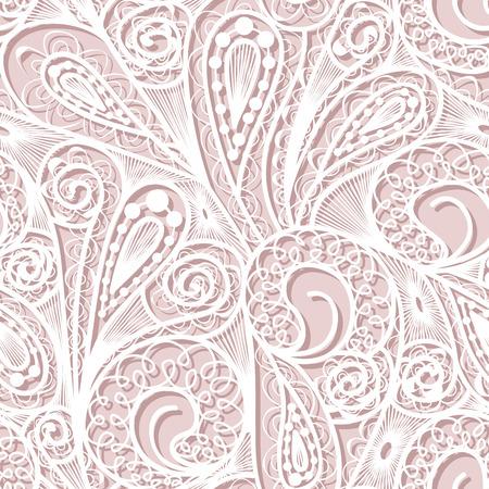 Seamless white lace pattern on pink background