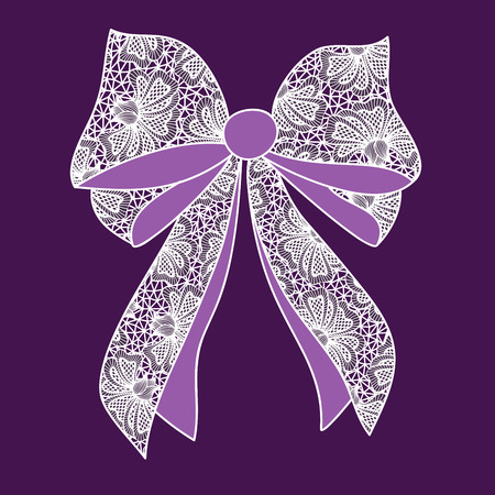 lacy: Decorative lacy bow on purple background