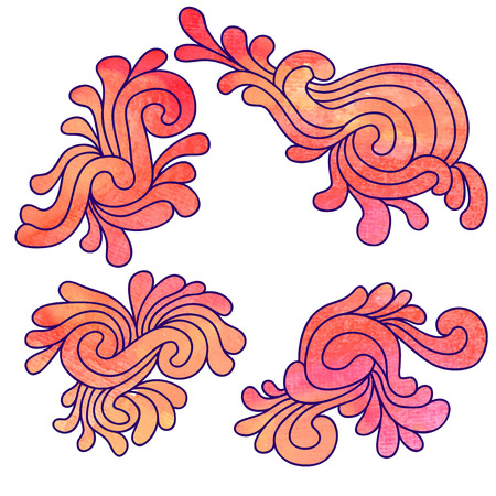 Set of decorative watercolor elements Illustration