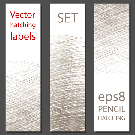 hatching: Set of 3 vector labels with pencil hatching