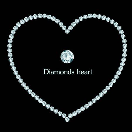 coeur diamant: Composition de cadre de coeur de diamant sur fond noir