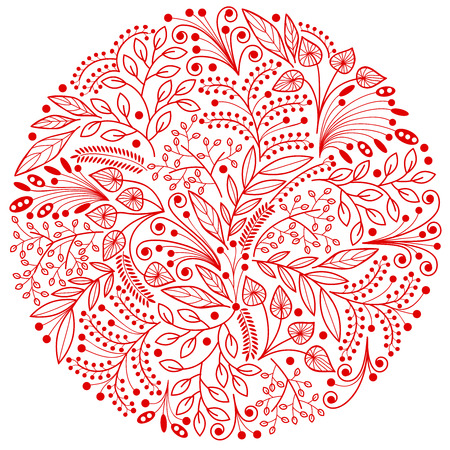 botanics: Red decorative floral composition on white background Illustration
