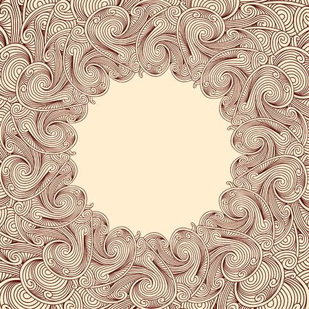 brown: Brown engraving round frame Illustration
