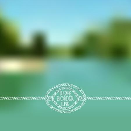 rope border: Blurred summer lake background with horizontal rope border
