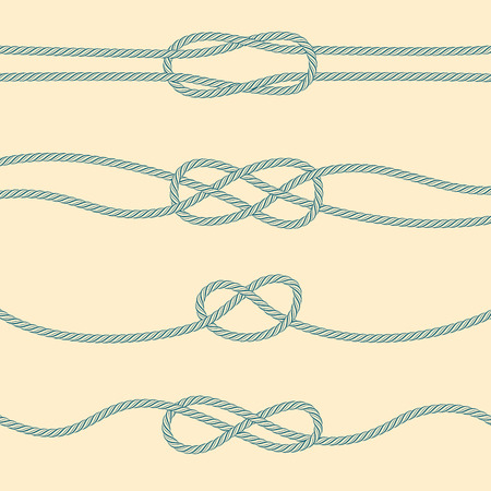 overhand: Set of marine knots: reef, carrick bend, overhand, figure 8.