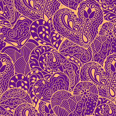 yellow heart: Yellow heart drawing seamless pattern on violet background