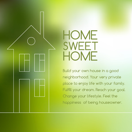 owning: House line graphic on blurred green background Illustration