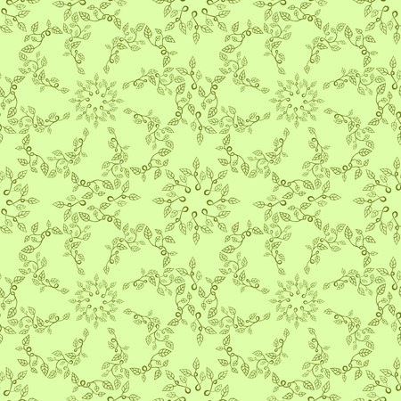botanics: Seamless leaves pattern on green background Illustration