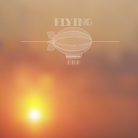 dirigible: Blurred sunset skies background with white dirigible line art Illustration