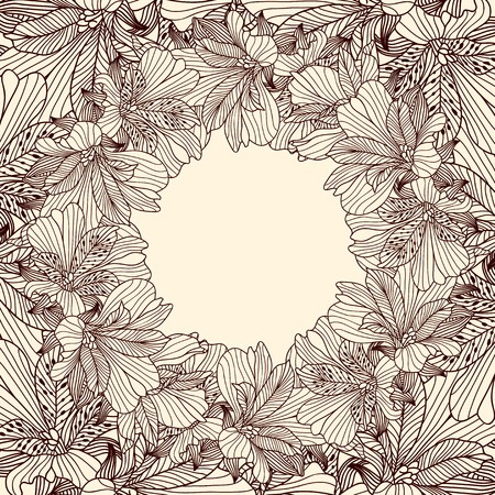botanics: Alstroemeria round frame background Illustration