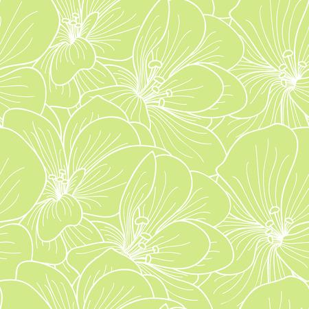botanics: Green and white geranium flowers line drawing seamless pattern