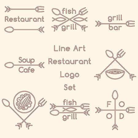 cross bar: Line art restaurant logo set Illustration