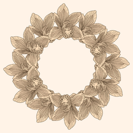 botanics: Round frame made of orchid flower engraving