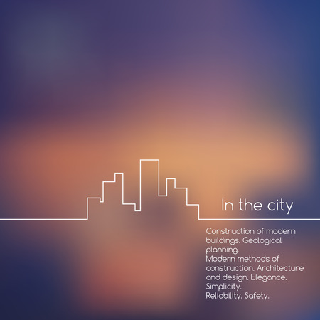 Cityscape line graphic on blurred background Illustration