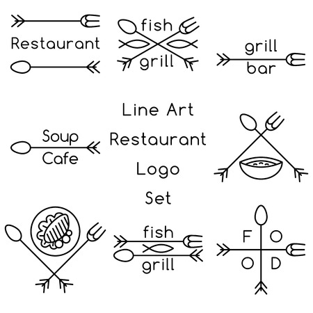 cross bar: Line art restaurant set Illustration