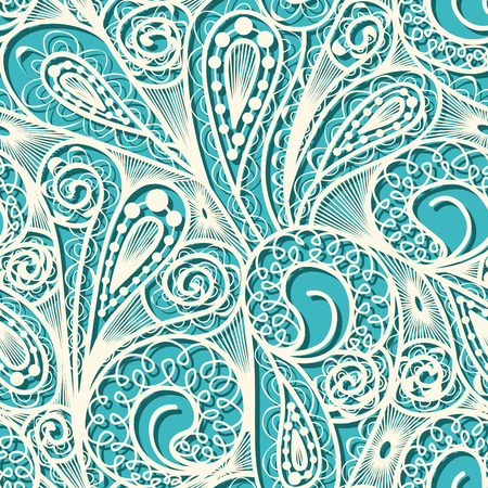 teal: Seamless white lace pattern on blue teal background