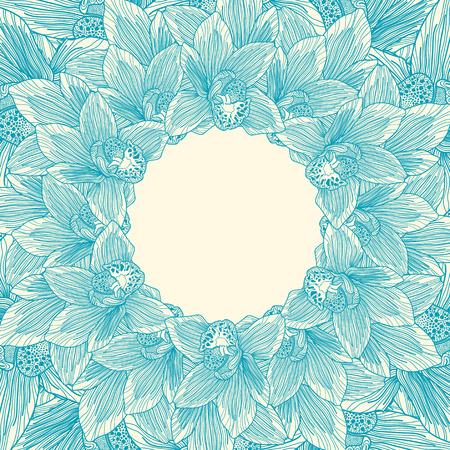 botanics: Blue and beige orchid flower frame Illustration