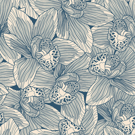 Beige and blue orchid drawing seamless pattern Illustration